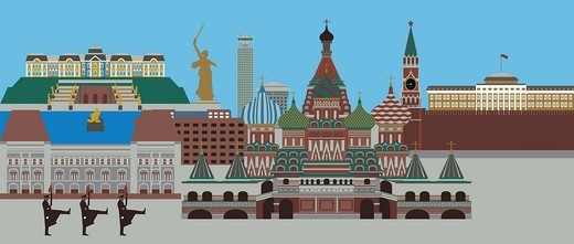 Illustration showing top tourist attractions in Russia : Stock Photo
