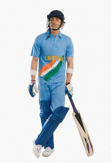 Cricket batsman standing at the non striker end : Stock Photo