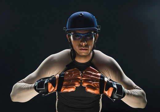 Close_up of a cricket wicket keeper : Stock Photo