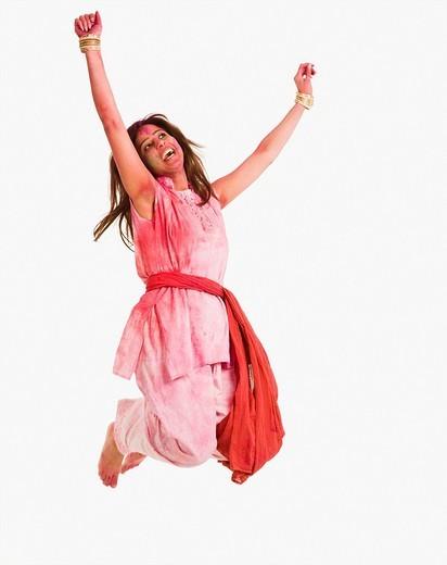 Woman celebrating Holi : Stock Photo