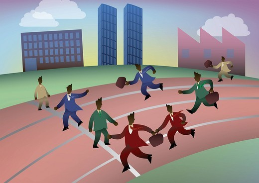 Businessmen in relay race with briefcases : Stock Photo