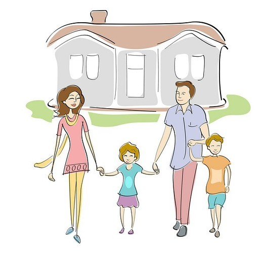 Stock Photo: 1657R-36851 Family standing in front of a house