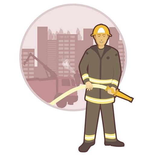 Stock Photo: 1657R-36894 Fireman standing with a hose