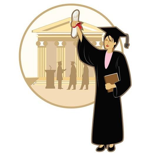 Female university student holding a diploma : Stock Photo