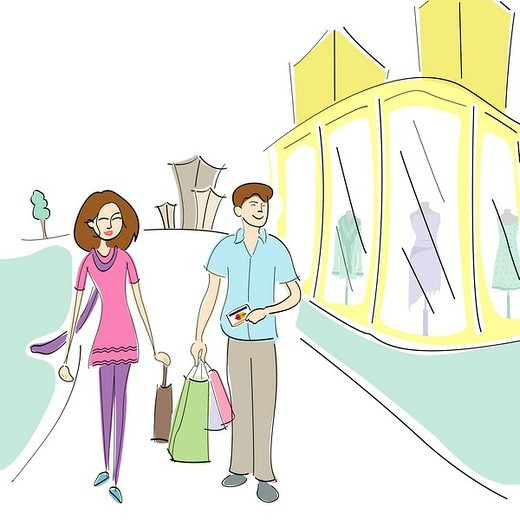 Couple walking on the road with shopping bags : Stock Photo