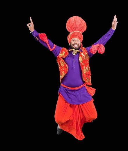 Stock Photo: 1657R-36943 Bhangra the traditional folk dance from Punjab in North India