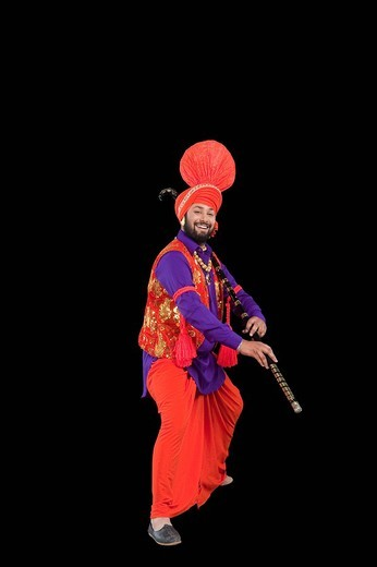 Stock Photo: 1657R-36944 Bhangra the traditional folk dance from Punjab in North India