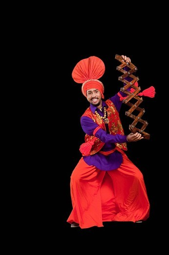 Stock Photo: 1657R-36949 Bhangra the traditional folk dance from Punjab in North India