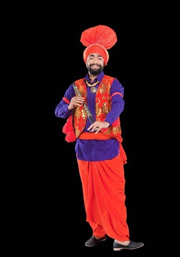 Stock Photo: 1657R-36957 Bhangra the traditional folk dance from Punjab in North India