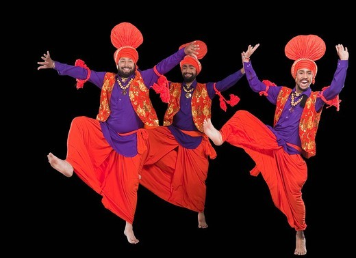 Stock Photo: 1657R-36965 Bhangra the traditional folk dance from Punjab in North India