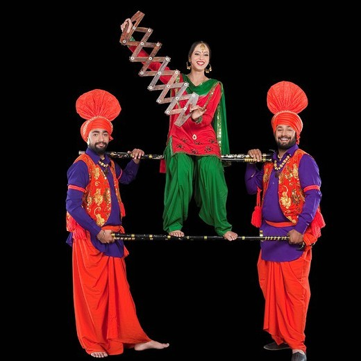 Stock Photo: 1657R-36980 Bhangra the traditional folk dance from Punjab in North India