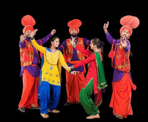 Stock Photo: 1657R-36984 Bhangra the traditional folk dance from Punjab in North India