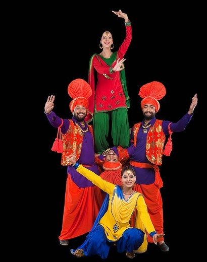 Stock Photo: 1657R-36989 Bhangra the traditional folk dance from Punjab in North India