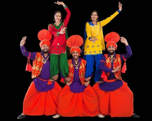 Stock Photo: 1657R-36990 Bhangra the traditional folk dance from Punjab in North India