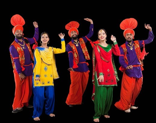 Stock Photo: 1657R-36993 Bhangra the traditional folk dance from Punjab in North India