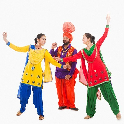 Stock Photo: 1657R-37003 Bhangra the traditional folk dance from Punjab in North India