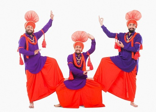 Stock Photo: 1657R-37013 Bhangra the traditional folk dance from Punjab in North India