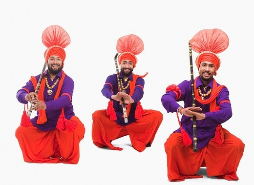Stock Photo: 1657R-37017 Bhangra the traditional folk dance from Punjab in North India