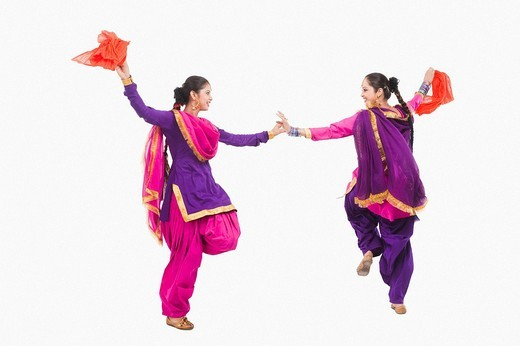 Stock Photo: 1657R-37024 Bhangra the traditional folk dance from Punjab in North India