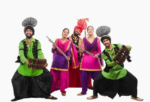 Stock Photo: 1657R-37043 Bhangra the traditional folk dance from Punjab in North India
