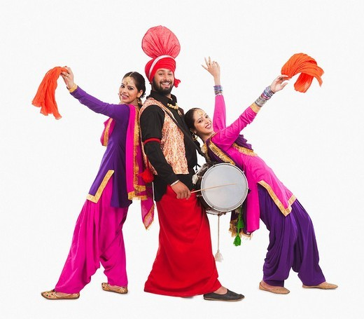 Stock Photo: 1657R-37067 Bhangra the traditional folk dance from Punjab in North India