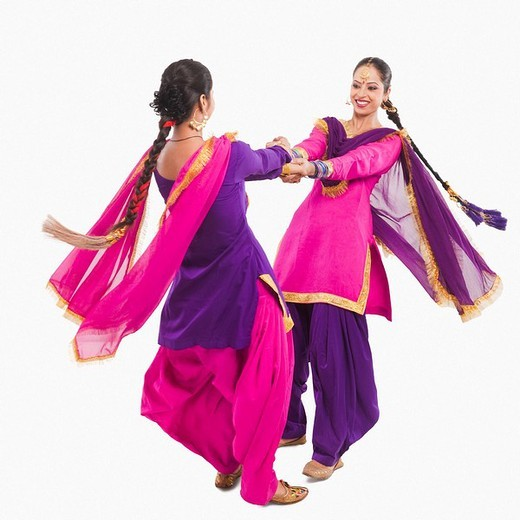 Stock Photo: 1657R-37069 Bhangra the traditional folk dance from Punjab in North India