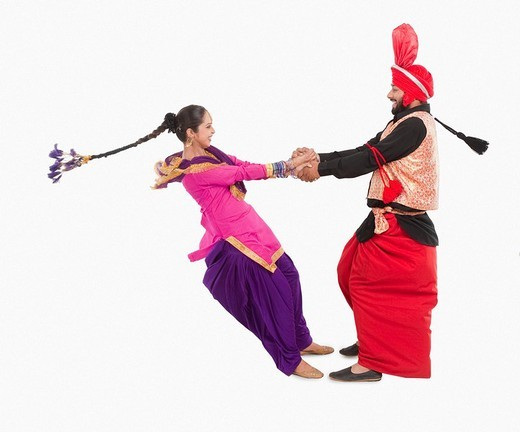 Stock Photo: 1657R-37073 Bhangra the traditional folk dance from Punjab in North India