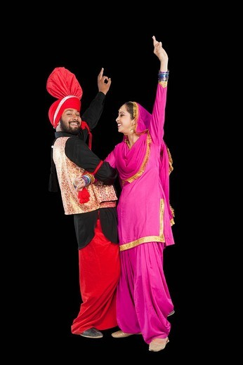 Stock Photo: 1657R-37084 Bhangra the traditional folk dance from Punjab in North India