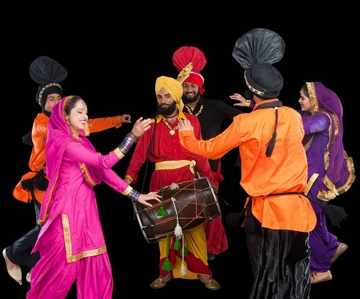 Stock Photo: 1657R-37085 Bhangra the traditional folk dance from Punjab in North India