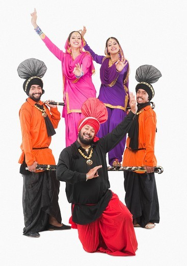 Stock Photo: 1657R-37099 Bhangra the traditional folk dance from Punjab in North India