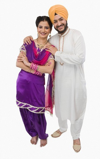 Portrait of a Sikh couple smiling : Stock Photo