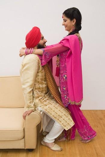 Sikh couple romancing : Stock Photo