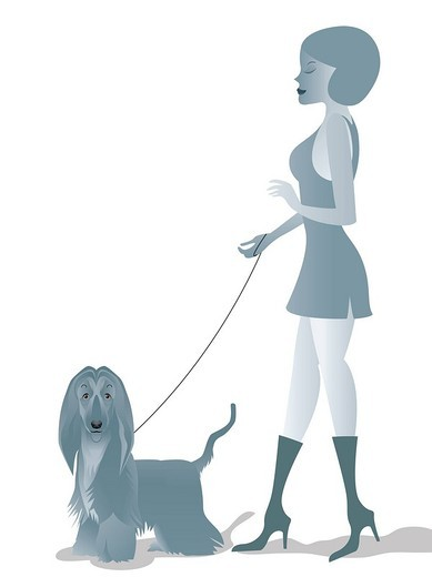 Woman walking with a dog : Stock Photo