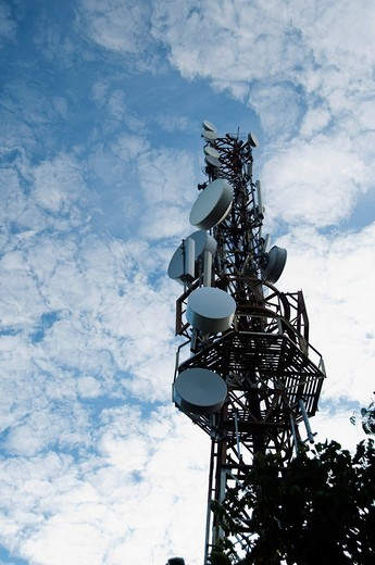 Low angle view of a communications tower, Tirupati, Chittoor District, Andhra Pradesh, India : Stock Photo