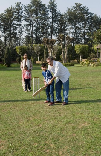 Stock Photo: 1657R-39433 Family playing cricket in lawn