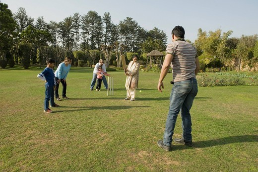 Stock Photo: 1657R-39443 Family playing cricket in lawn