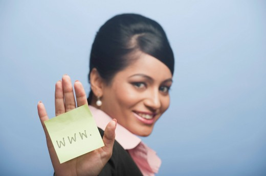 Woman showing her palm with adhesive note stuck on it : Stock Photo
