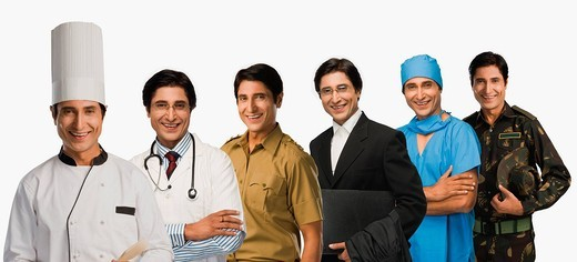 Multiple images of a man in different occupations uniforms : Stock Photo