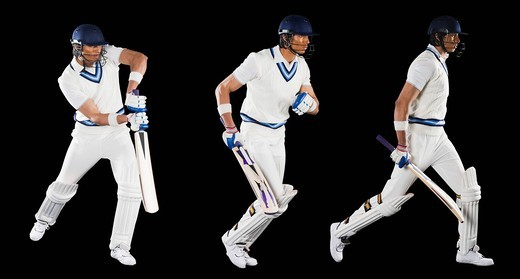 Multiple images of a cricket batsman : Stock Photo