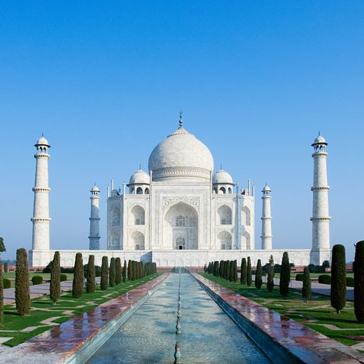 Facade of a mausoleum, Taj Mahal, Agra, Uttar Pradesh, India : Stock Photo
