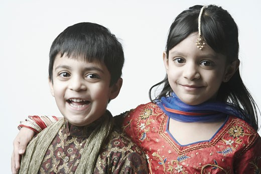 Portrait of a girl and her brother : Stock Photo