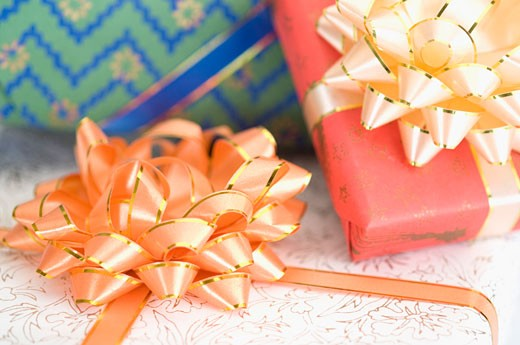 Close-up of three gifts : Stock Photo