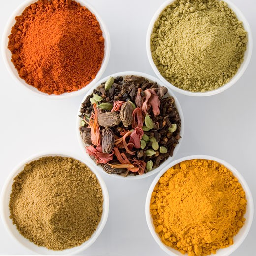 Stock Photo: 1657R-9158 High angle view of five bowls of spices