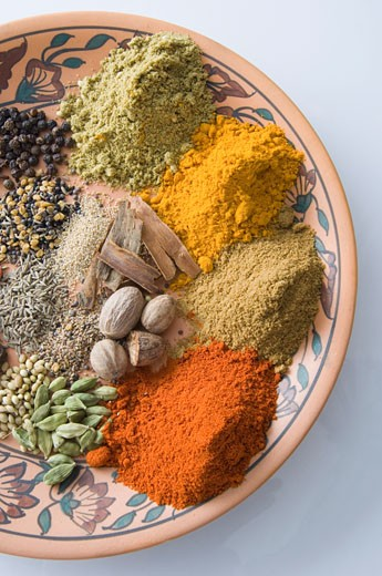 Close-up of spices on a plate : Stock Photo
