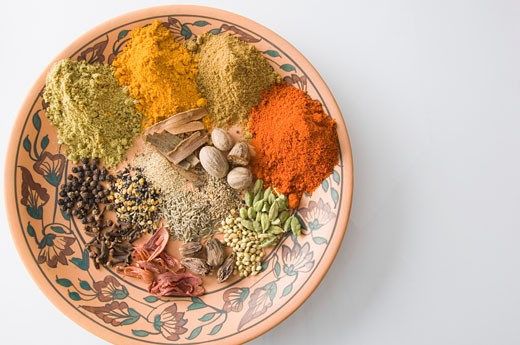 Stock Photo: 1657R-9199 High angle view of spices in a plate