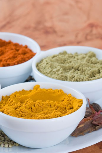 Stock Photo: 1657R-9209 Close-up of spices in three bowls