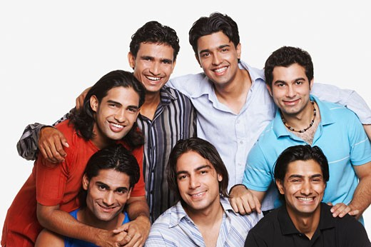 Group of young men smiling : Stock Photo