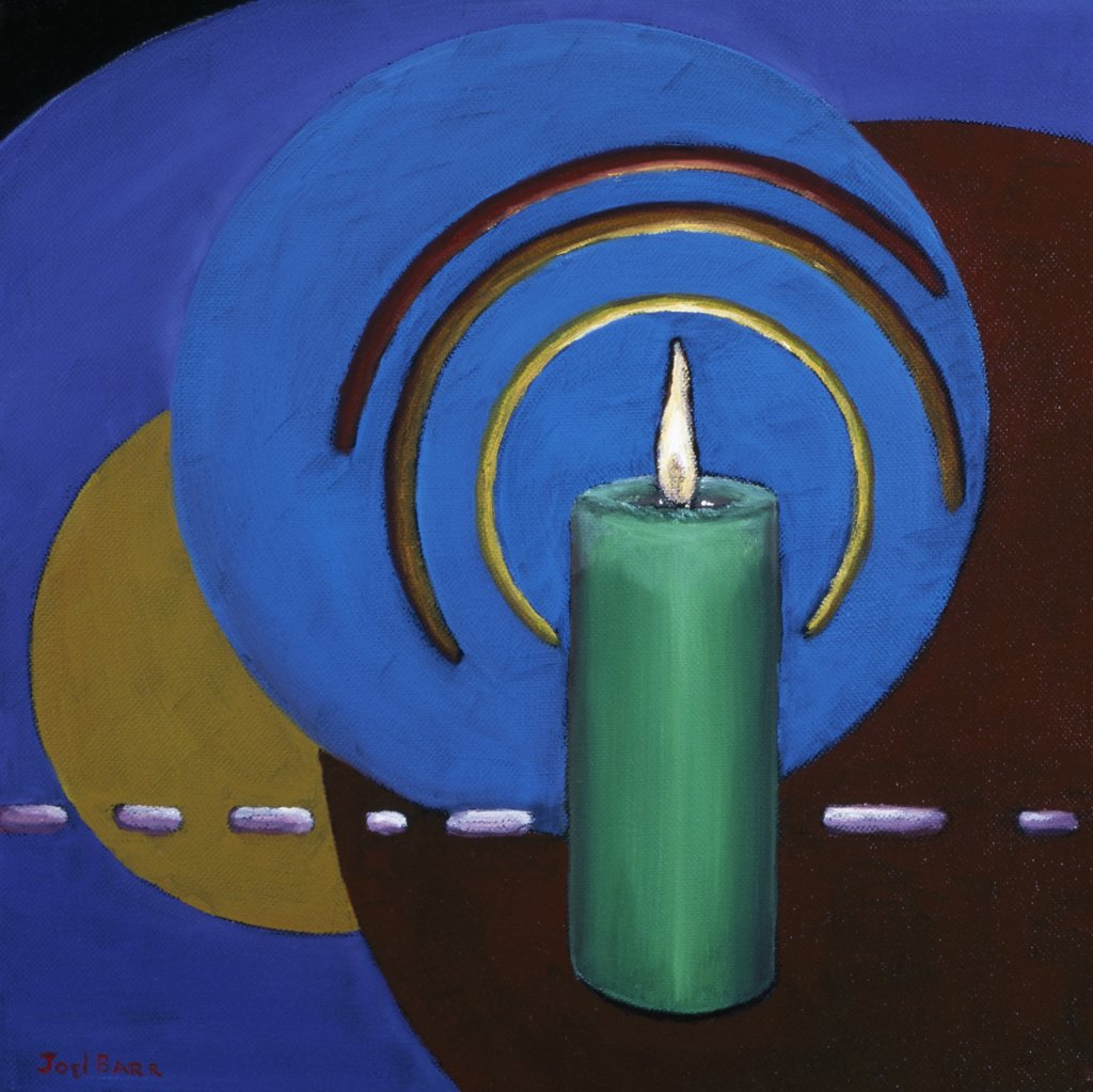 Stock Photo: 1658-156 One Candle in the World 2006 Joel Barr (b.1946 American) Oil on canvas