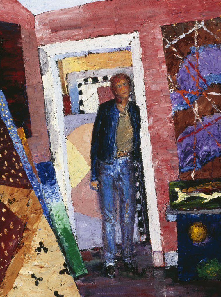 Stock Photo: 1658-159 Taking a Break at the Gallery 2004 Joel Barr (b.1946 American) Oil on wood