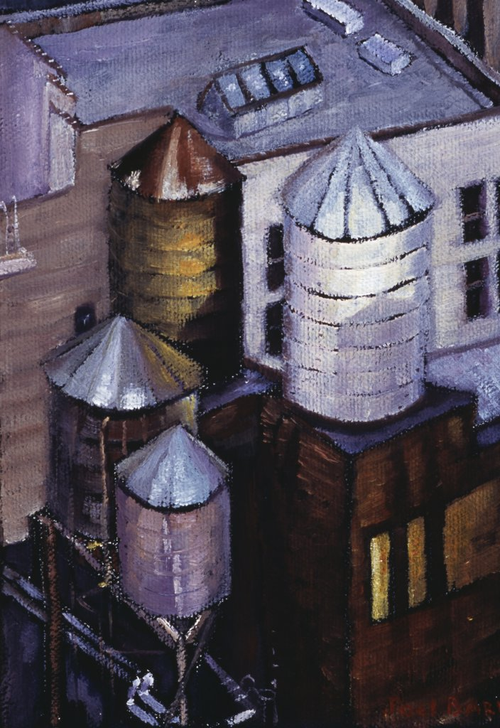 Stock Photo: 1658-173 City of Towers 2006 Joel Barr (b.1946 American) Oil on canvas